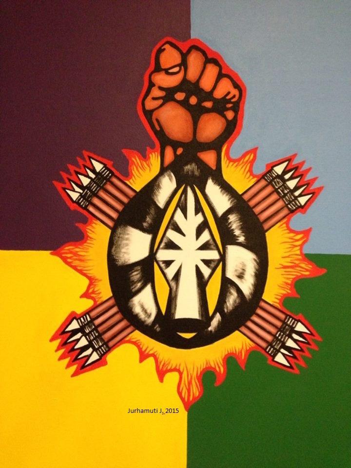 bandera y fuego